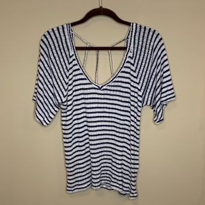 Lucky Brand Short Sleeves V-Neck Striped Top